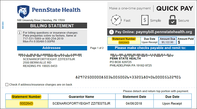 Image of Penn State Health billing statement with the statement number highlighted for emphasis.