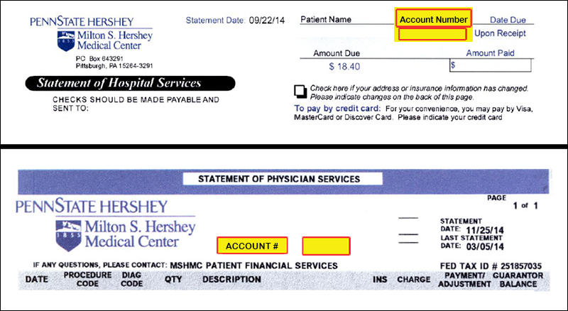 Image of Penn State Hershey billing statement with the account number highlighted for emphasis.